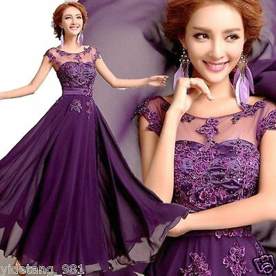 Beautiful Long Chiffon Bridesmaid Evening Formal Party Ball Gown Prom Dress A1