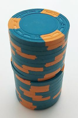 "Set of 20 ASM Casino Style ""A"" Mold Clay Chips Aqua/Orange Inserts FREE SHIP"