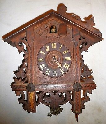 Antique Black Forest Carved Railroad Cuckoo Clock Parts Repair