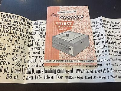 Minty 1950 Introducing HEADLINER Photo-Composing Machine Lettertype Film Paper