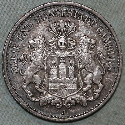 HAMBURG ~German State 2 Mark 1902 J~High Grade - Silver ~Combined S.& H.