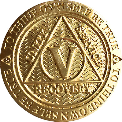 5 Year AA Medallion Reflex Bronze Sobriety Chip Alcoholics Anonymous Coin