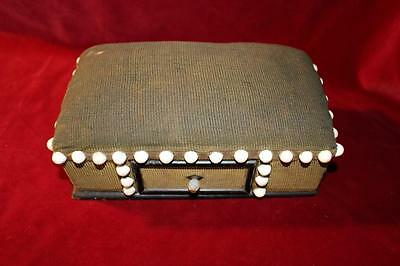 Victorian Large Pin Cushion One Drawer Folk Art Porcelain Buttons Very Heavy