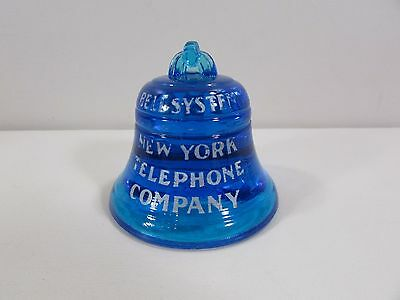 Cobalt Blue Glass Bell System New York Telephone Co.Paperweight