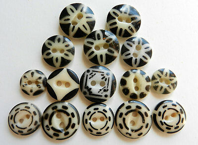 Mixed Lot of Black and White Stenciled China Buttons