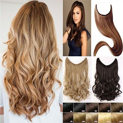 UK Premium Secret Wire in Hair Extensions Invisible As Human Hairpiece Brown New