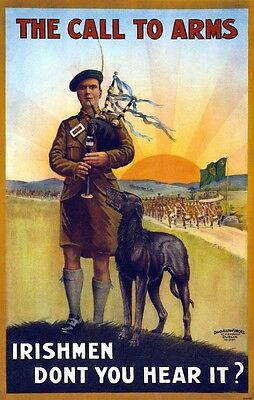 1915 Irish Wolfhound Dog Poster Bagpipes Ireland Call To Arms New Art Print 767