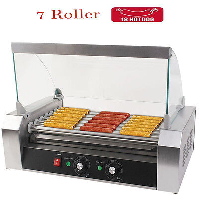 Stainless Steel Commercial 7 Roller 18 Hot Dog Grill Cooker Machine with Cover