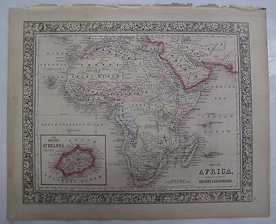 1864 Mitchell's Atlas Hand Colored Map Africa St. Helena Madagascar Arabia