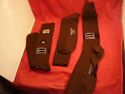3 Pierre Cardin Stretch Nylon Dark Brown Dress Socks Fits 13-17 Usa Nos