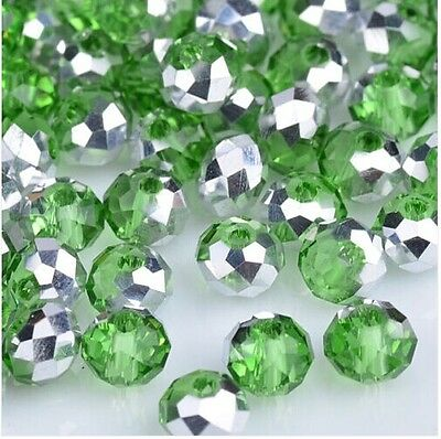 NEW Jewelry Faceted 100 pcs Silver Green #5040 3x4mm Roundelle Crystal Beads DIY