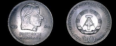 1972-A German Democratic Republic 20 Mark Coin- East Germany- Fred. Von Schiller