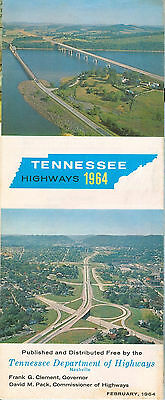 Tennessee Highways February 1964 - state map mostly pre-Interstate Highways