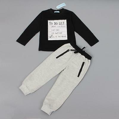 1Set Kids Toddler Boys Handsome Black Blouse + Gray Casual Pants 1