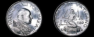 1960 Vatican City 5 Lire World Coin - Catholic Church Italy