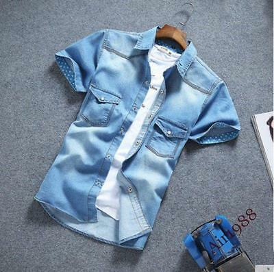 School Mens Casual Shirts Denim Shirts Short Sleeve Slim Fit Casual Shirt Button