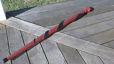 Vintage Wooden Walking Stick With Devil Head And Carved Snake