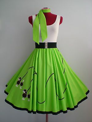 """ROCK N ROLL/ROCKABILLY  """"POODLE"""" SKIRT-SCARF S-M Lime Green."""