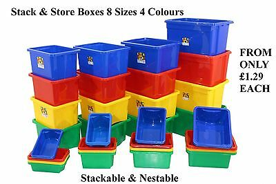 NEW British Made Stack & Store Plastic Storage Box Boxes Stackable & Nestable