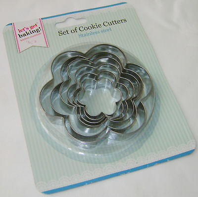 New 6 Stainless Steel Biscuit Cookie Pastry Cutters Flower Shape Pms Sale