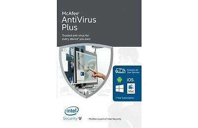 McAfee Antivirus Plus 2018 1 Year Unlimited Devices PC Mac Phone Tablet Android