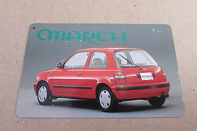 Nissan March Red Car On Used Phonecard From Japan