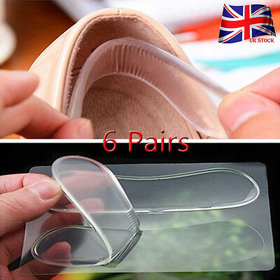 6 Pairs Silicone Gel Heel Cushion Shoe Insert Pad Insole For High Heel HMS