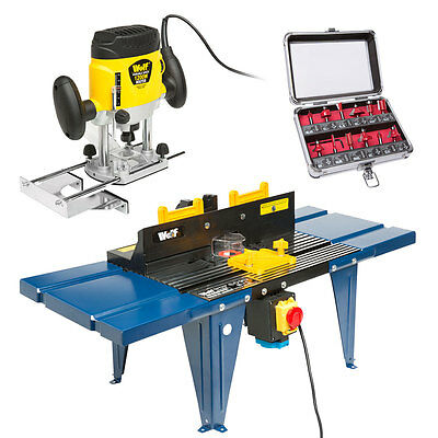 Wolf 1200w Variable Speed Plunge Router Die Cast Aluminium Top Router Table Bits