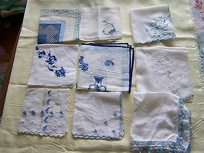 9 pcs. vintage handkerchiefs; blue! crocheted, printed, tatted, embroidered nice