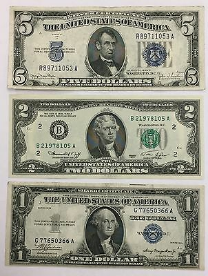 Lot of (3) $5 & $1 Silver Certificate $2 Federal Reserve Note Unc  PM-07