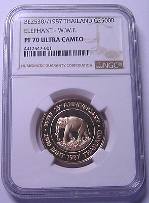 Thailand 2500 Baht 1987 Gold NGC PF70UC W.W.F Elephant  Top grade