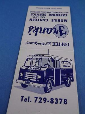 Old Catering Canteen Truck Frank's Matchbook Ottawa Ont Vintage Collector