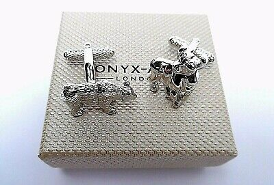 """""""BULL & BEAR"""" Stock Market Trader Metal SILVER STYLE Cuff Links in GIFT BOX-NEW"""