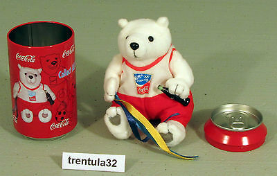 ATHENS GREECE 2004 OLYMPICS Coca~Cola COKE CAN Plush TEDDY BEAR Ribbon Twirling