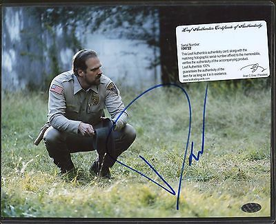 David Harbour Signed 8x10 Photo Leaf COA AUTO Autograph