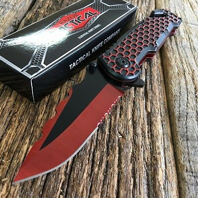 """8.5"""" RED RAZOR BOWIE Spring Assisted Open TACTICAL Pocket Knife NEW"""