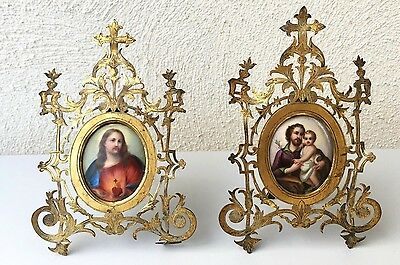 RARE, antique 19th C pair of plaques porcelain hand painted jesus frames bronze