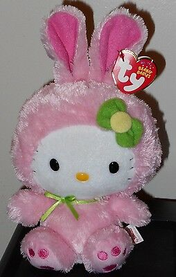Ty Beanie Baby ~ HELLO KITTY WITH PINK EASTER BUNNY SUIT - MINT with CREASED TAG