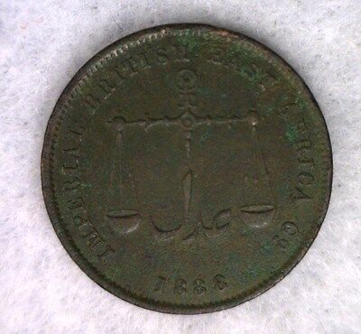 MOMBASA 1 PICE 1888 (1306 AH)  British East Africa COIN (Stock# 0507)