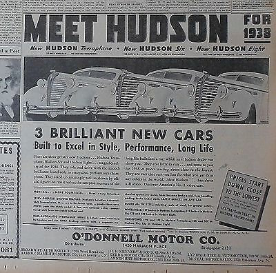 1937 newspaper ad for Hudson - Meet Hudson for 1938, Terraplane, Six, Eight