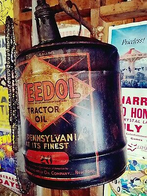 RARE 1940'-50 VEEDOL TRACTOR 5 GALLON OIL CAN.with covers Pennsylvania Finest☆