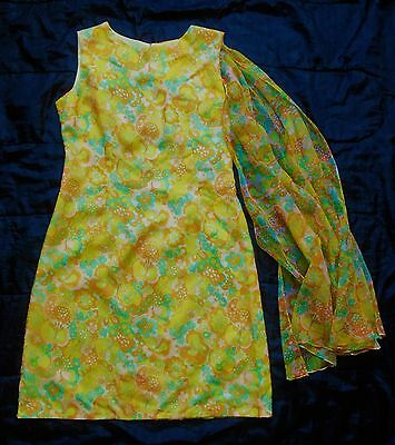 Vintage 60s dress - retro print nylon - English Lady label - approx size 12/14