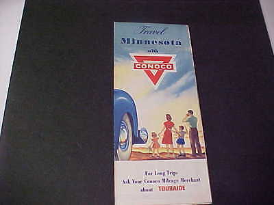 1940's Minnesota Road Map CONOCO Oil Company