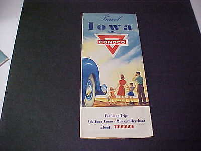 1940's Iowa Road Map CONOCO Oil Company