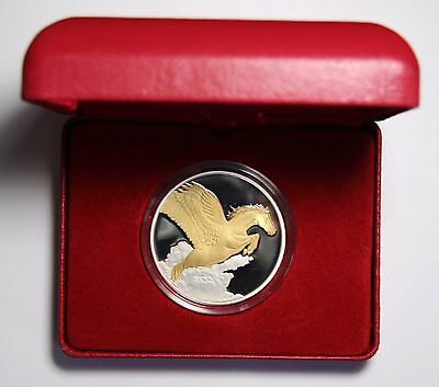 2014 Tokelau 1 Ounce Creatures Myth & Legend Pegasus $5 Silver Gilded Lot# N 426