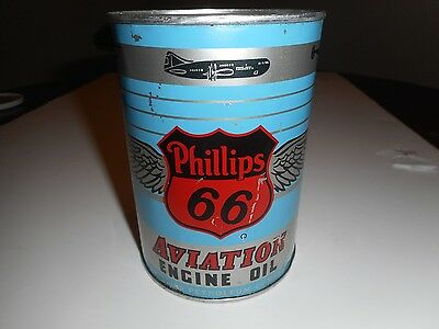 Vintage Phillips 66 Aviation Engine Oil Full One Quart Can