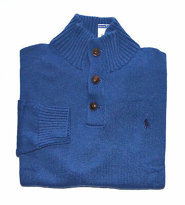 New Men's Polo Ralph Lauren 3 Buttons Pullover Sweater Blue M, Medium
