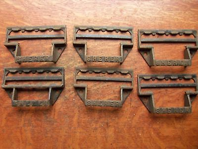 Six Antique Sherer Big Iron Industrial Pharmacy Drawer See Bin Pulls c1885