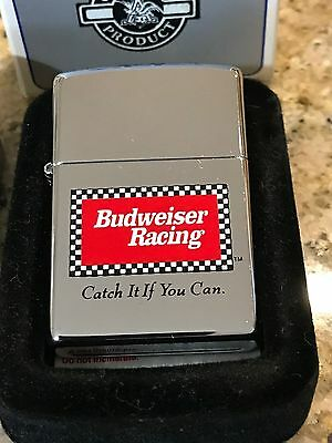 Budweiser Racing Nascar Zippo Lighter Catch It If You Can 1996 Metal Tin &sleeve