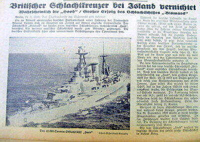 6 1941 WW II German newspapers HMS HOOD sunk & BRITISH SINK BATTLESHIP BISMARCK